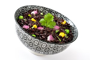 Black rice and vegetables