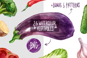 26 watercolor vegetables + bonus