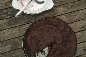 Chocolate cake and empty dishes