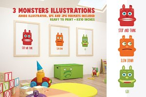 3 Monsters Illustrations