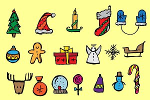 Doodle Christmas icon set. Vctr