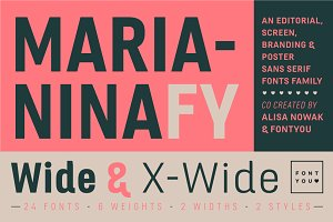 Marianina Wide FY Family (12 fonts)
