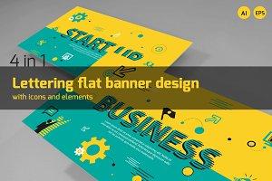 Lettering flat banner design