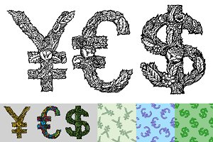 Currency Symbols. Yen, Euro, Dollar
