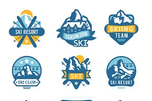 Ski resort logo emblems vector