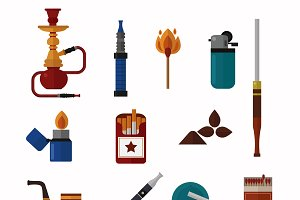 Smoking silhouette vector icons