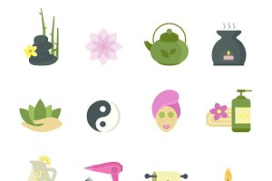 Spa beauty icons vector collection