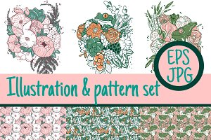 3+3 Illustration & pattern set