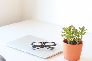 Minimal Office Desk With Plant