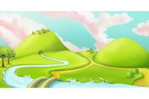 Nature landscape, vector graphicmesh