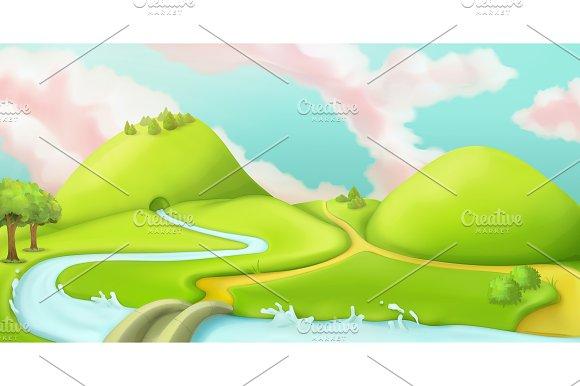 Nature landscape, game background