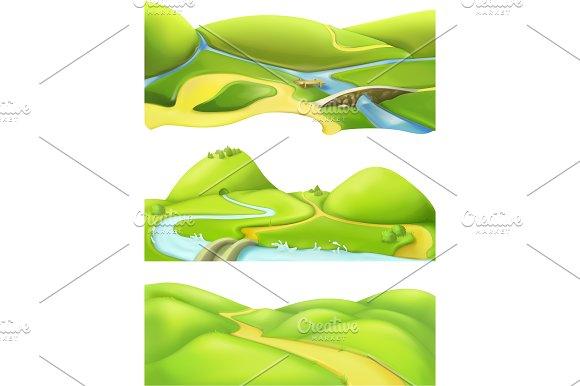 Nature landscape, game backgrounds in Illustrations