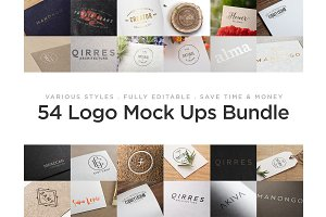 54 Logo Mock Ups - Bundle