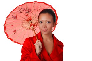 beautiful woman with parasol