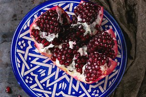 Sliced ripe pomegranate
