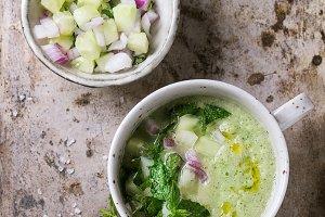 Cucumber gazpacho with mint