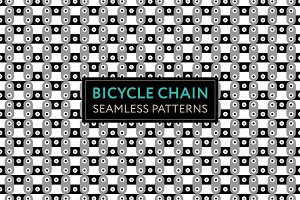 Bicycle Chain. Seamless Patterns.