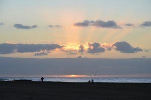 Sunrise and Fishermen in Desert