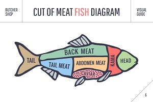Cut of meat set. Fish