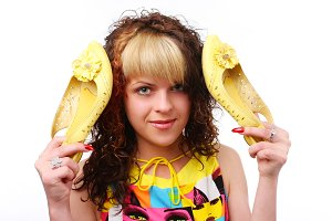 funny woman with yellow shoes