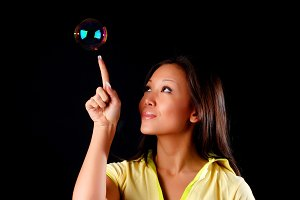 woman witn soap bubble
