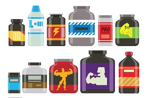 Sports nutrition food icons vector