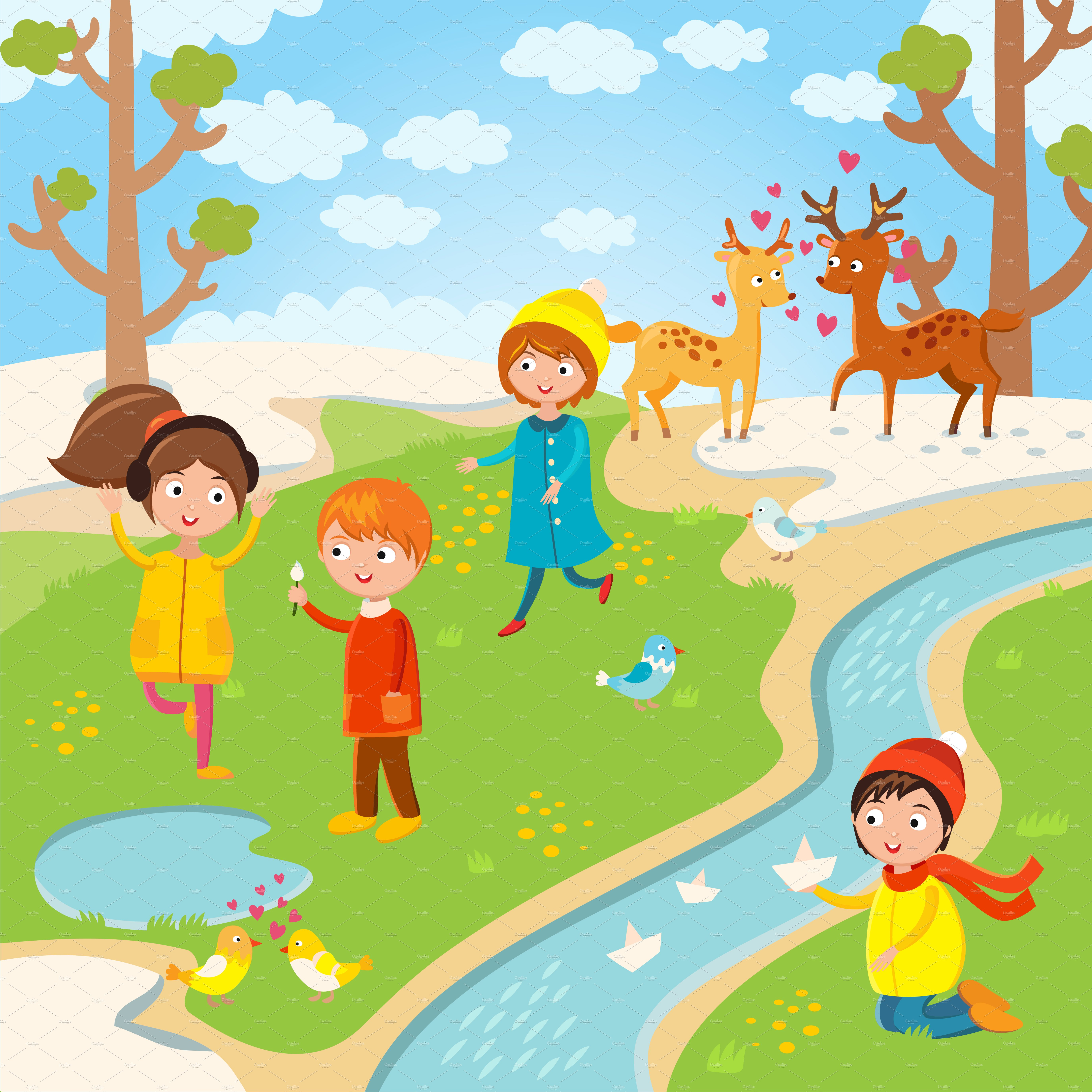 Spring or summer kids playing vector ~ Illustrations ...
