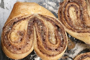 Cinnamon buns after baking
