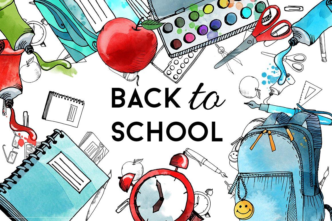 Back to school. Watercolor & vector ~ Illustrations ...