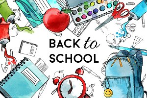 Back to school. Watercolor & vector