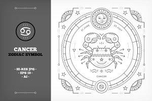 ♋ Cancer Symbol Illustration