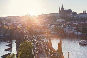 Charles Bridge at sunset, Prague.