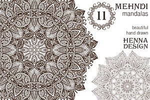 11 hand drawn mehndi mandalas