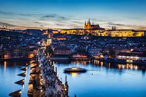 Charles Bridge at night, Prague.