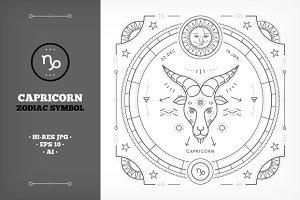 ♑ Capricorn Symbol Illustration