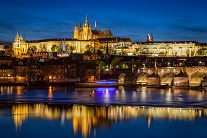 Prague Castle, Hradcany at night.
