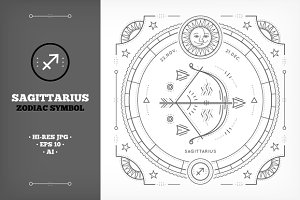 ♐ Sagittarius Symbols Illustration