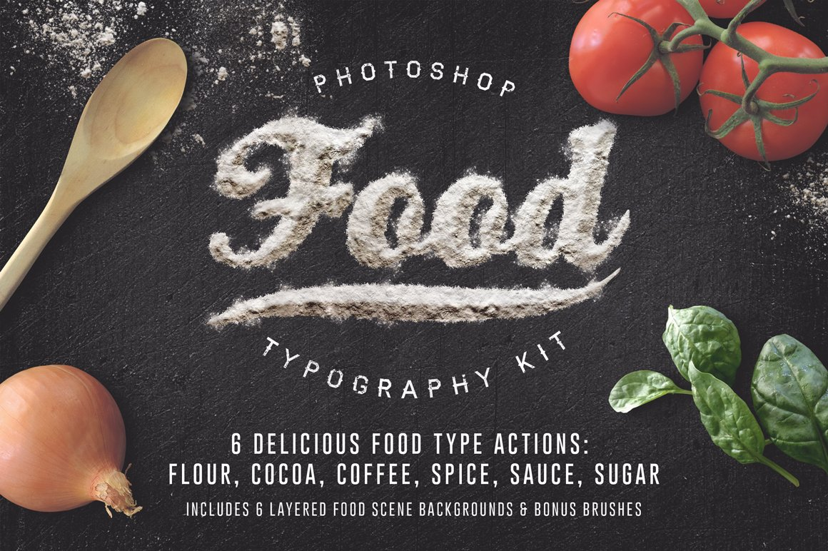 Food Typography Psd Actions Free Download