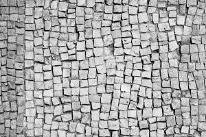 Black and white old mosaic floor