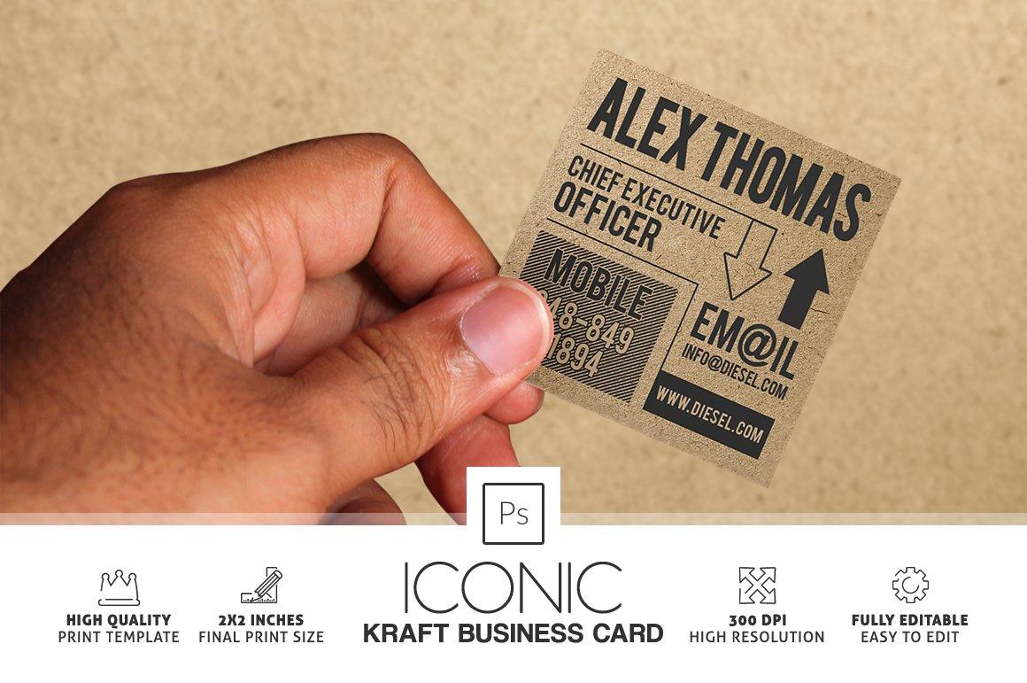 iconic kraft paper business card business card templates creative market. Black Bedroom Furniture Sets. Home Design Ideas