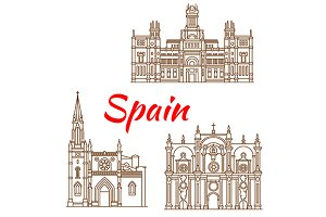 Spanish landmarks icons set