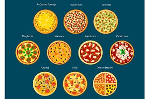 Different types of pizza flat icons