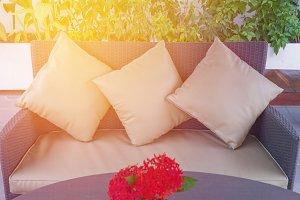 pillows on casual sofa
