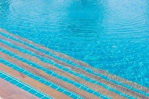 Luxury of blue swimming pool