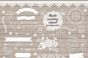 Vector Rustic wedding clipart II.