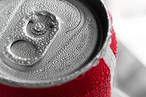 Water droplets on soda cans