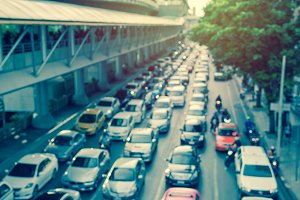blur of traffic jam on road