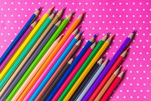 pencils isolated on Pink fabric