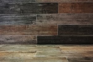 Old wooden floor tied with wood wall for texture and background