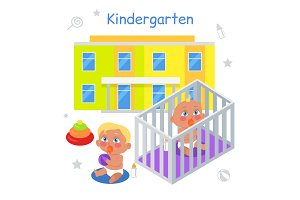 Kindergarten Illustration in Flat